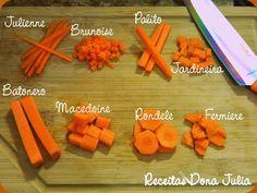 #receitas #receitasdonajulia #bomdia  #osakaceramicaavançada RECEITAS DONA JULIA - Blog de Culinária Gastronomia e Receitas.: TIPOS DE CORTE DE LEGUMES