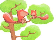 Alison Brown Illustration - alison brown, paint, painted, acrylic, commercial, trade, picture book, picturebook, novelty, animals, squirrels, forests, trees