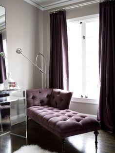 Farrow & Ball Elephant's Breath painted walls looks amazing combined with purple furniture. via Amoroso Design