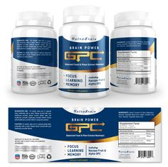 Brain Alpha GPC Supplement Label Template http://www.dlayouts.com/template/907/brain-alpha-gpc-supplement-label-template