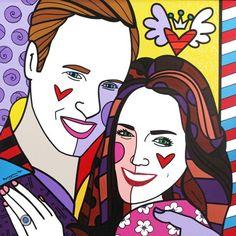 "Prince William & Catherine Middleton 2011 48"" x 48"" Acrylic on Canvas"