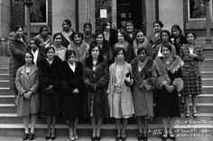 Alpha Chapter members of Delta Sigma Theta Sorority, Inc. at the steps of the Andrew Carnegie Building at Howard University, 1930.