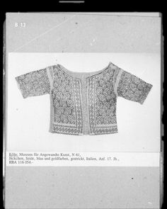 gold and light blue knitted jacket, c. 1600, at Museum fur Angewandte Kunst