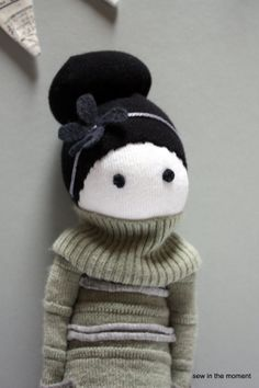 Sock Doll with Flower Headband by Sew in the Moment now on Etsy, you can also buy the pattern to make this doll for $6US