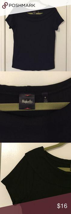Rafaella black shawl-collar short-sleeve top Rafaella black shawl-collar short-sleeve top. 100% cotton makes this top soft and comfortable. Worn once - EUC! Rafaella Tops Blouses