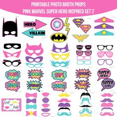 ♥ This set of Photobooth props has 22 pages and includes: 2 Super Man Logos 1 Wonder Woman Logo 4 Bowties 9 Glasses 8 Masks 1 Shield 1 Lightning 1 Bat Signal 3 Crowns 5 Lips 15 Mustaches 2 Arrow Signs 10 Speech Bubble Signs 3 Noise Signs 1 Table Sign and instructions