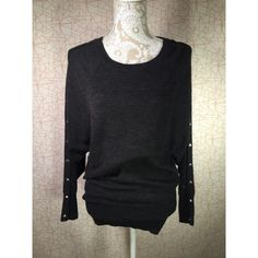 Elena Solano Grey studded sweater Small-medium . Grey studded sweater. Great condition . No missing studs, no lint balls . Like new. Fits snug at the bottom can be worn as a skirt. Final price Sweaters Crew & Scoop Necks