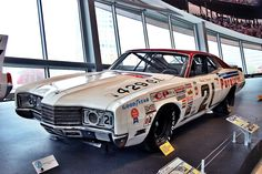 Taken in Charlotte, North Carolina at the NASCAR Hall of Fame Museum. Built by Wood Brothers Racing. Nascar Race Cars, Old Race Cars, Drag Racing, Auto Racing, Mercury Cars, Ford Torino, Vintage Race Car, Ford Motor Company, Race Day