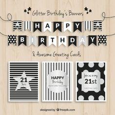 誕生日のバナーやカードブラックとシルバー
