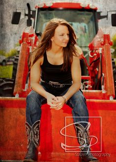 Senior pictures / Farm Girl / Tractor / Boots-But need to be tucked in! and the wrong color of tractor!