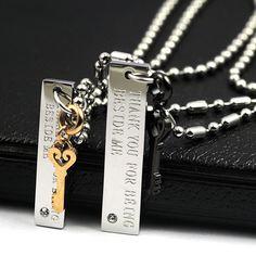 Key Titanium Steel Pair of Pendants - $26.00