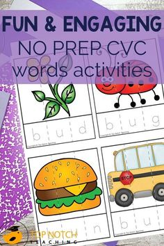 Help your students master reading and spelling their CVC Words with these fun and interactive CVC Words Activities and Worksheets. This CVC Words Bundle is packed with fun and engaging activities and worksheets for practicing and reviewing CVC Words. The NO PREP CVC Words Activities are perfect for whole-class games, small group instruction, morning tubs, and independent centers. Back To School Activities, Reading Activities, Literacy Activities, Teaching Reading, English Worksheets Pdf, Class Games, Comprehension Strategies, Cvc Words, Word Families