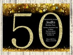 50th Birthday Invitation. Gold Glitter Birthday by SilverCityInk