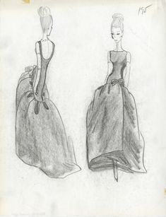 'L'œuvre au noir', the exhibition in homage to Cristóbal Balenciaga at the Musée Bourdelle Balenciaga Vintage, Balenciaga Dress, Fashion Sketchbook, Fashion Sketches, Fashion Drawings, Vogue Paris, 1950s Fashion, Vintage Fashion, Gowns