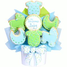 Baby Boy Cutout Cookie Bouquet Welcome baby and delight the family with this delicious presentation of sweetly glazed and hand decorated baby shaped butter cookies. Comes with 7 cookies. Summer Cookies, Easter Cookies, Birthday Cookies, Christmas Cookies, Valentine Cookies, Cookie Bouquet, Flower Cookies, Cupcake Cookies, Cookie Favors