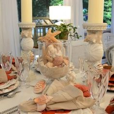 Beach Tablescape in peach & coral with lobster & crab plates