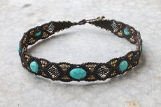 Turquoise & Brass Beaded Macrame Choker Necklace by Malatichan