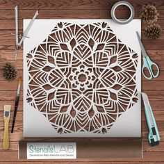 GEOMETRIC SYMMETRICAL MANDALA STENCIL is the best tool to create an accented wall in your room. Use a large stencil over the head of your bed, or choose the smaller sized stencil to make a repeating p Mandala Stencils, Stencil Patterns, Stencil Art, Diy Arts And Crafts, Paper Crafts, Diy Crafts, Kirigami, Papercut Art, Craft Robo