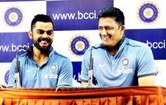 Indian test team skipper Virat Kohli with head coach Anil Kumble addressing a press conference.