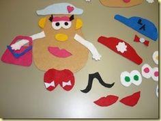 The Potato Head (felt) family and speech therapy ideas.