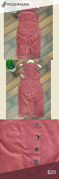 Dress Beautiful faux suede dress.color says rust.Buttons in front and slit.Zipper on back Forever 21 Dresses