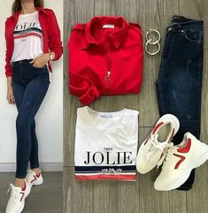 Red jacket white t Jeans outfit Cute Simple Outfits, Casual Work Outfits, Trendy Outfits, Cool Outfits, Terno Casual, Teen Fashion Outfits, Mode Hijab, Denim Outfit, College Outfits