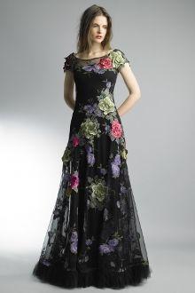 Basix Black Label Floral Cap Sleeve Evening Gown D7908L
