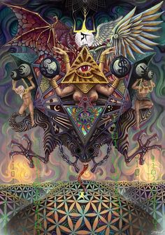 The Heaven Deception Watermarked to deter theft ive worked on this piece for a very long time, . Fantasy Kunst, Dark Fantasy Art, Psychedelic Art, Alex Gray Art, Satanic Art, Psy Art, Arte Obscura, Art Folder, Occult Art