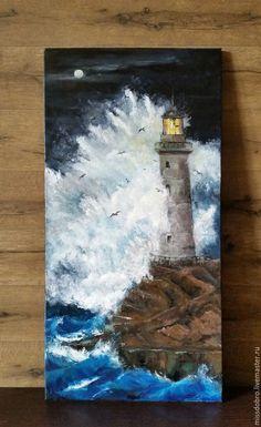 Купить Спасение - маяк, Буря, волны, волна, луна, лунная ночь, картина, пейзаж…