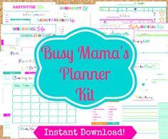 INSTANT Download Mom Planner- 24 Editable Pdf Documents- Home Organization PRiNtAbLeS- home Management Binder- Busy Mamas Kit via Etsy