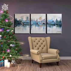 ARTLAND Modern 100 Hand Painted Framed Abstract Oil Painting Blue Villages 3Piece GalleryWrapped Wall Art on Canvas Ready to Hang for Living Room for Wall Decor Home Decoration 16x36inches -- You can find more details by visiting the image link.