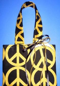 Peace is Golden / Fabric Gift Tote / Ex Small /For Any Occasion /  With Gift Tag by olebaglady for $2.70