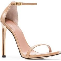 Stuart Weitzman the Nudist Sandals in Adobe Patent as seen on Ashley Benson