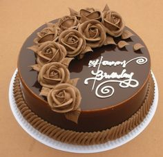 Chocolate Rose Cake Delivery Asansol, A good honest chocolate cake iced with ganache and double layers of ganache throught the centre.Make your love one's day more special send this beautiful Cake delicious cake is perfect for your occasion. Happy Birthday Cake Pictures, Special Birthday Cakes, Pretty Birthday Cakes, Birthday Parties, Creative Cake Decorating, Cake Decorating Videos, Birthday Cake Decorating, Birthday Cake Models, Chocolate Cake Designs