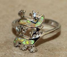 fire opal ring Gemstone silver jewelry Sz 8.25 chic modern Iguana Lizard D37S