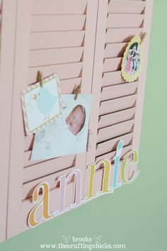 Repurposed Shutters {wall display} - The Crafting Chicks Cute Furniture, Diy Furniture Projects, Diy Projects, Repurposed Shutters, Old Shutters, Picture Frame Display, Picture Frames, Christmas Card Display, Christmas Cards