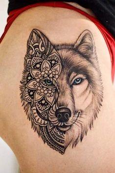 27 Inspiring Wolf Tattoo Ideas For Your Skin - Half Mandala Wolf Tattoo For Thi. - 27 Inspiring Wolf Tattoo Ideas For Your Skin – Half Mandala Wolf Tattoo For Thigh - Rose Tattoos, Body Art Tattoos, Sleeve Tattoos, Wolf Tattoo Sleeve, Tatoos, Wolf Tattoo Design, Tattoo Wolf, Haut Tattoo, Wolf Tattoos For Women