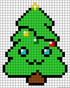 Minecraft Pixel Art Ideas Templates Creations Easy / Anime / Pokemon / Game / Gird Maker Kawaii Christmas tree hama perler bead pattern or cross stitch chart Melty Bead Patterns, Hama Beads Patterns, Beading Patterns, Pixel Art Templates, Perler Bead Templates, Minecraft Templates, Pixel Art Kawaii, Pixel Art Noel, Chi Le Chat