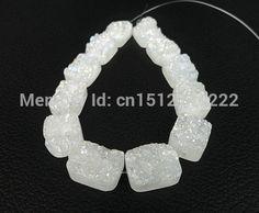 11 pcs blanc Drusy Druzy Agate Rectangle Cabochon perles gros pendentif mode bijoux pierre naturelle différentes tailles pour le choix