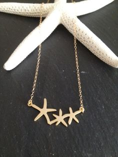 Triple Starfish Necklace Matte 18k Gold Plated on Etsy, $25.00