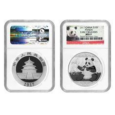 30 g 2018 China Silver Panda 10 Yuan NGC MS70 Early Releases Bilingual Black