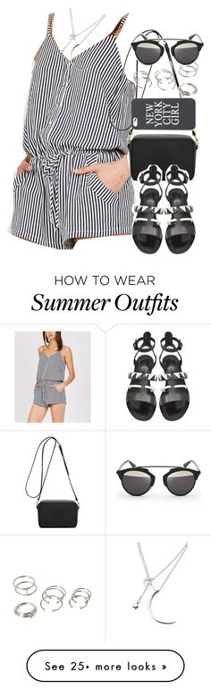 """""""Outfit with a striped jumpsuit for summer"""" by ferned on Polyvore featuring Mulberry, Proenza Schouler, Forever 21 and Christian Dior"""