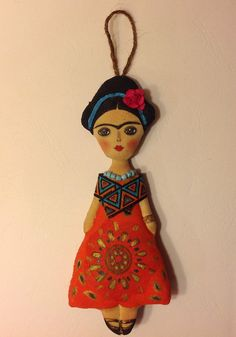 cloth doll handcrafted art doll Frida Kahlo by NatashaArtDolls
