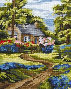 Anchor Spring Scene Needlepoint Tapestry Craft Kit