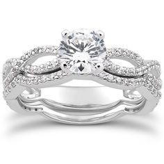 Pave Diamond Engagement Wedding Ring Set 14K White Gold - 1.00CT from Pompeii3 Inc.