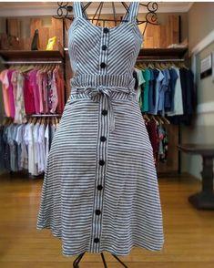Image may contain 1 person standing and stripes – Artofit Kurta Designs, Blouse Designs, Hijab Fashion, Fashion Dresses, Dress Skirt, Shirt Dress, Dungaree Dress, Designer Party Dresses, Maxi Outfits
