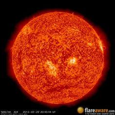 The hourly sun (at 08:45 pm  UTC on 22 February 2013)