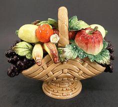 VINTAGE CAPODIMONTE ITALY PORCELAIN ART CENTER PIECE, VASE FRUIT BASKET