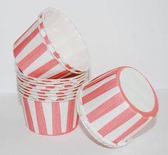 PINK Stripe Candy Cups, Nut cups, Baking cupcake liners or muffin cups, Ice cream cup, dessert cups - (24) count. $4.79, via Etsy.