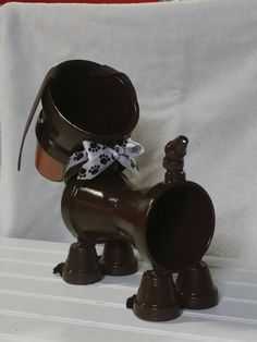 Decorative Dachshund/ Weiner Dog Flower Pot by CraftPotPourriByDrG